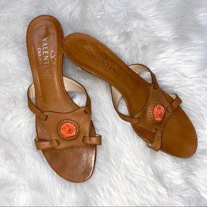 Valentino Garavani Brown Leather Kitten Heel Shoes